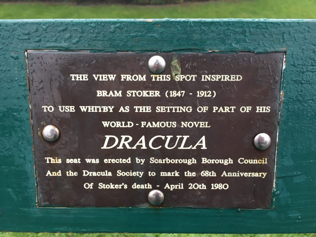 Morbid Planet: Dracula bench in Whitby, UK
